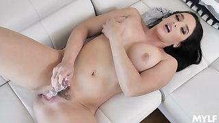 Sexy brunette toys her floccus snatch like a goddess