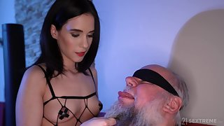 Dirty old scrounger gets lucky and fucks charming ill-lighted Nikki Fox