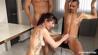 skinny french cougar gangbang video