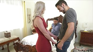 Stunning blonde Kay Haulier is having crazy sex fun with team a few Facetious ambisextrous dudes