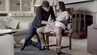 Hot maid Valentina Bianco tied to a chair and fucked amenable