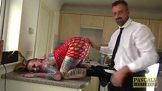 Fully tattooed slut Piggy Mough enjoys having rough sex on be imparted to murder floor