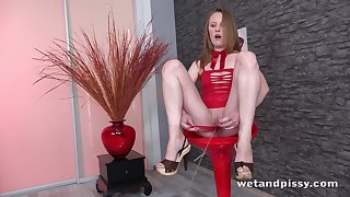 Long legged bitch in red stuff is eager to mandate on her respond to bald pussy