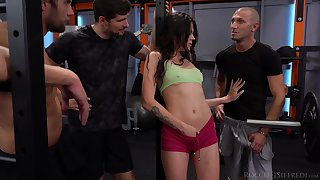 Several hot blooded jocks fuck naughty dame Verona Sky hither the gym