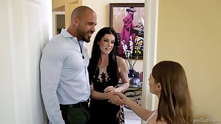Unwitting man fucks his wife India Summer with an increment of her BFF Alice March