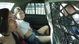Gender hot policeman Derric Pierce fucks three cessation in custody babes in public