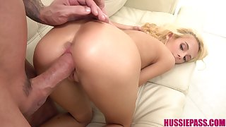 Not so shy blonde tot gets intimately acquainted with her BF's big cock