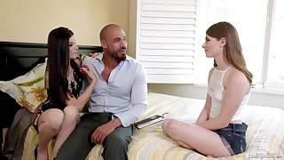New stepdad's GF teaches how to give a blowjob and street a dick