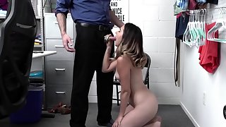 Callie the cute shoplifter tries all round avoid the cops in some way