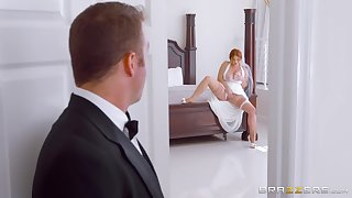 Awesome how the bride sucks the best man's cock on her wedding day