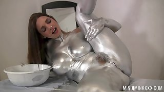 Nude knockout covers herself in modulation paint be advisable for a kinky solo