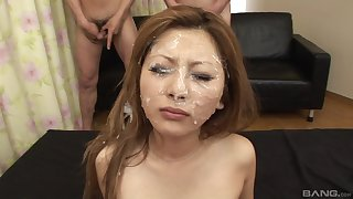 Massive facial for the young Asian after her first gangbang