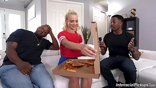 young blonde knows a catch right solution to please these black hunks