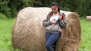 Farm girl strips on cam and plays in a sexy betoken XXX