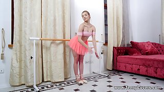 Ballerina rides and sucks the chubby pole in attractive modes