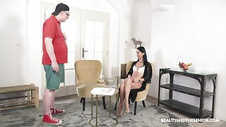 Alluring brunette seems alright with riding stepdad's huge dong