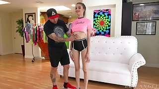 Young babe strips for this dude and handles his dick like a pro