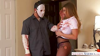 Gung-ho masked robber is shocked as he gets a nice blowjob from Britney Amber
