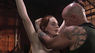 Pale bound ginger slave anal banged