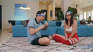 Nerdy young babe fucks with her personal trainer companionable