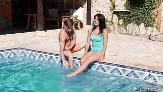 Energized teen fucks all round the pool guy on holiday