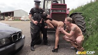 Fake hegemony officer Kiki gets fucked by the brush coworker and a stranger
