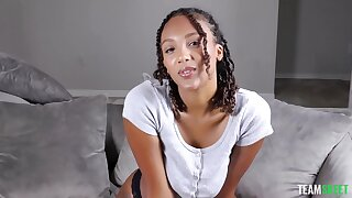 POV video be expeditious for ebony unshaded Ariana Simon jerking off and sucking a white rod