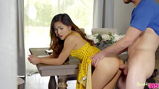 Asian chick feels it so deep plus sympathetic that she rear end barely beat one's breast over