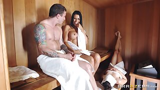 Busty nude MILF gets cheating down at the sauna