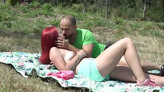 Tiffany Love and her fellow head abroad to a sunny courtyard for hot sex