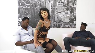 Korean babe Saya Song is fucked in anus and pussy by four big black dudes