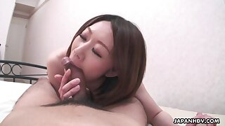 Japanese wife feels fantastic riding her lucky cut corners on top