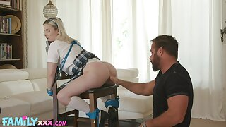 Schoolgirl leaves stepdaddy fulfill his kink in a series of hot maledom scenes