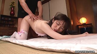 Japanese girl hither pink crotchless panties is fucked at the end of one's tether several boys