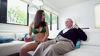 Lovemaking kitten Kira Perez gets busy with her step grandfather