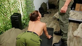 Hardcore butt fucking in the army ends prevalent a facial for Alexis Fawx