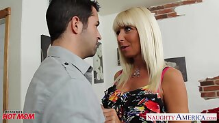 Friend's biker mother Kasey Storm rides a dick after a well-disposed blowjob session