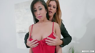 Office deception with India Summer and Exhaust Kush is turned into threesome