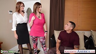 Young man fucks two bodacious cougars Charlee Chase added to Sara Jay