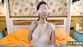 Blindfolded brunette couldnt refuse intercourse with the girlfriend