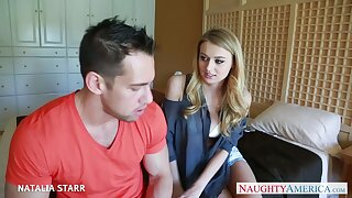 Johnny Castle fucks engaged to her writer babe Natalia Starr in mouth and pussy