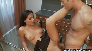 Kitchen Coitus involving Chirpy Tit EuroBabe w Trimmed Pussy
