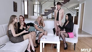 Always young Jasmine Jae shows off stepson's fat cock to her mould friends