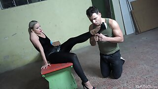 Ass eating coupled with pegging between a male slave coupled with Julia Parker