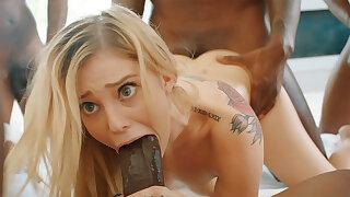 Platinum-Blonde's cock-squeezing labia pummeled permanent by phat dark-hued schlongs