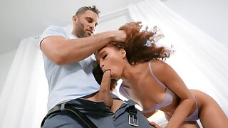 Curly-haired disastrous minx facialized after quickie with neighbor