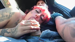 Tattooed pink haired emo girl is affinity over for brutal doggy sex