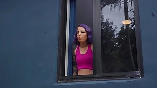 Ungentlemanly hither purple hair wants man who spies on her masturbating