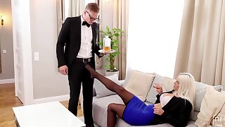 Lady boss Blanche Bradburry seduces young waiter with beamy blarney Stanley Johnson