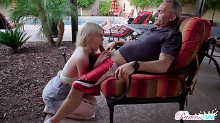 Obsessed nearly sex teen Megan Holly gets into pants be advisable for old step dad